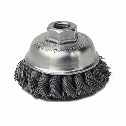 Mighty-Mite™ 13155 Single Row Cup Brush, 3-1/2 in Dia Brush, 1/2-13 UNC, 0.023 in, Standard/Twist Knot, Steel Fill