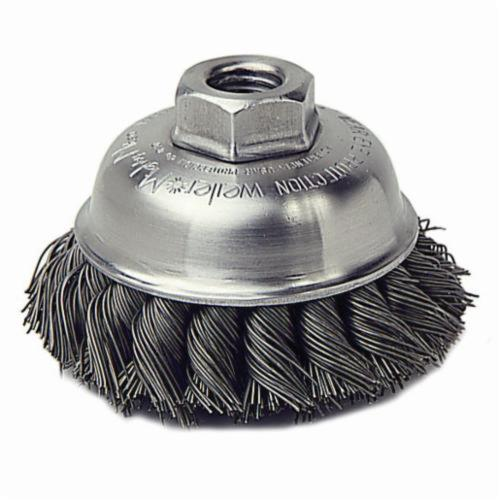 Mighty-Mite™ 13159 Single Row Cup Brush, 3-1/2 in Dia Brush, M14x2 Arbor Hole, 0.023 in Dia Filament/Wire, Standard/Twist Knot, Stainless Steel Fill