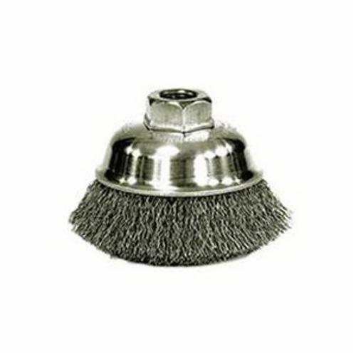 Mighty-Mite™ 13181 Cup Brush, 3-1/2 in Dia Brush, 5/8-11 UNC Arbor Hole, 0.014 in Dia Filament/Wire, Crimped, Steel Fill