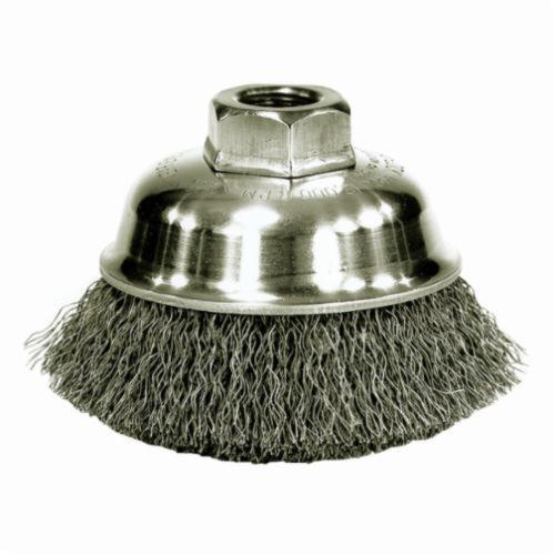 Mighty-Mite™ 13178 Cup Brush, 3-1/2 in Dia Brush, 3/8-24 UNF Arbor Hole, 0.014 in Dia Filament/Wire, Crimped, Steel Fill