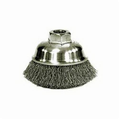 Mighty-Mite™ 13187 Cup Brush, 3-1/2 in Dia Brush, 1/2-13 UNC Arbor Hole, 0.014 in Dia Filament/Wire, Crimped, Stainless Steel Fill