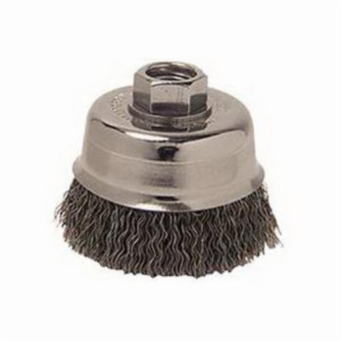 Mighty-Mite™ 13242 Cup Brush, 3 in Dia Brush, M14x2 Arbor Hole, 0.014 in Dia Filament/Wire, Crimped, Steel Fill