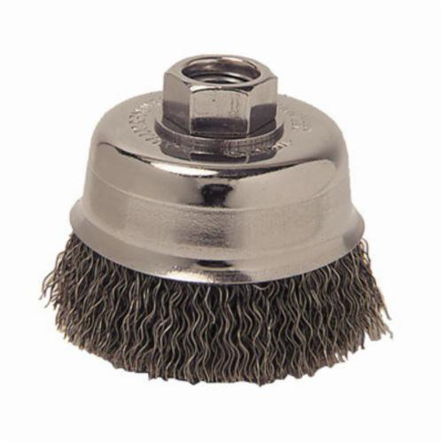 Mighty-Mite™ 13244 Cup Brush, 3 in Dia Brush, 1/2-13 UNC Arbor Hole, 0.014 in Dia Filament/Wire, Crimped, Steel Fill