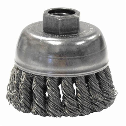 Mighty-Mite™ 13282 Single Row Cup Brush, 2-3/4 in Dia Brush, M10x1.5 Arbor Hole, 0.02 in Dia Filament/Wire, Standard/Twist Knot, Steel Fill