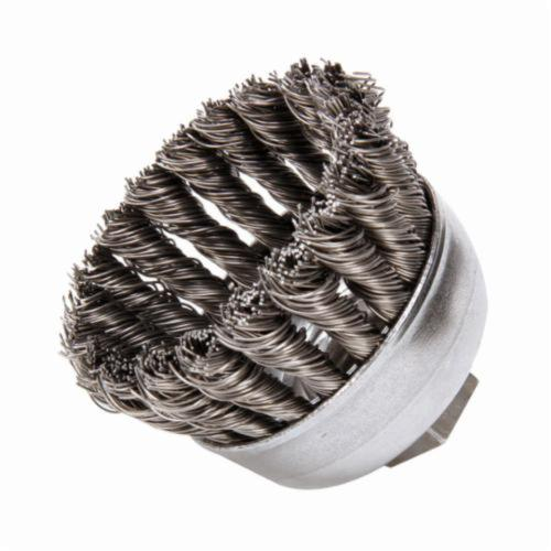 Mighty-Mite™ 13284 Single Row Cup Brush, 2-3/4 in Dia Brush, 3/8-24 UNF Arbor Hole, 0.02 in Dia Filament/Wire, Standard/Twist Knot, Steel Fill