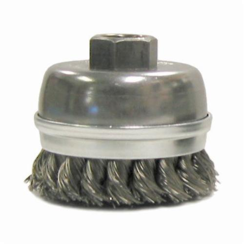 Mighty-Mite™ 13302 Single Row Cup Brush, 2-3/4 in Dia Brush, 5/8-11 UNC, 0.02 in, Standard/Twist Knot, Stainless Steel Fill