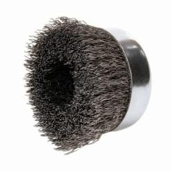 Mighty-Mite™ 14036 Cup Brush, 4 in Dia Brush, 5/8-11 UNC Arbor Hole, 0.02 in Dia Filament/Wire, Crimped, Steel Fill