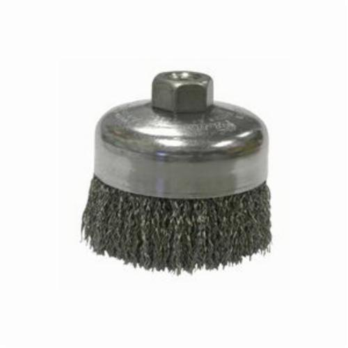 Mighty-Mite™ 14126 Cup Brush, 4 in Dia Brush, 5/8-11 UNC Arbor Hole, 0.02 in Dia Filament/Wire, Crimped, Stainless Steel Fill