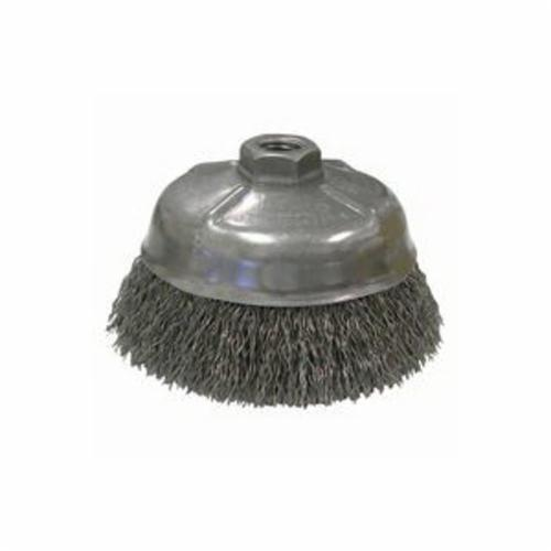 Mighty-Mite™ 14216 Cup Brush, 5 in Dia Brush, 5/8-11 UNC Arbor Hole, 0.02 in Dia Filament/Wire, Crimped, Steel Fill