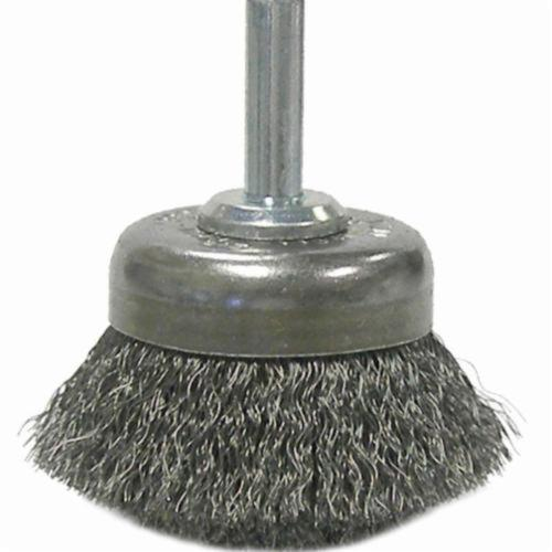 Weiler® 14300 Stem Mounted Utility Cup Brush, 1-3/4 in Dia Brush, 0.006 in, Crimped, Steel Fill