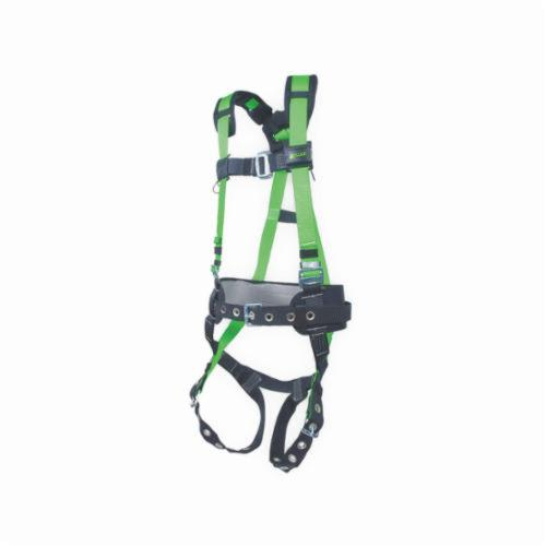 Miller® by Honeywell 650CN-BP/UGN Contractor Harness, Universal, 400 lb Load, Polyester Strap, Tongue Leg Strap Buckle, Mating Chest Strap Buckle, Friction Shoulder Strap Buckle, Steel Hardware, Green