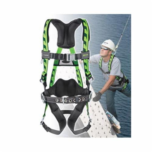 Miller® by Honeywell AirCore™ ACA-QC/UGN Harness, Universal, 400 lb Load, Polyester Strap, Quick-Connect Leg Strap Buckle, Quick-Connect Chest Strap Buckle, Aluminum Hardware, Green