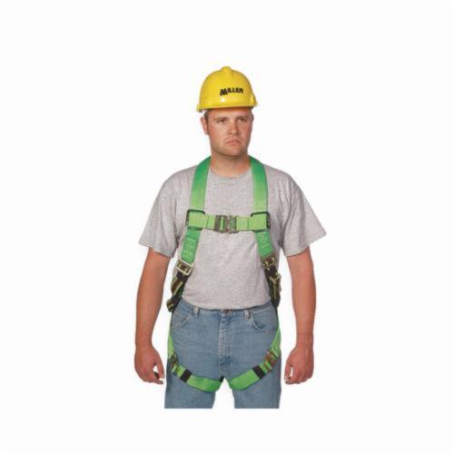 Miller® by Honeywell DuraFlex® Python™ P950QC/UGN Harness, Universal, 400 lb Load, Polyester/Urethane Elastomer Strap, Quick-Connect Leg Strap Buckle, Quick-Connect Chest Strap Buckle, Friction Shoulder Strap Buckle, Steel Hardware, Green