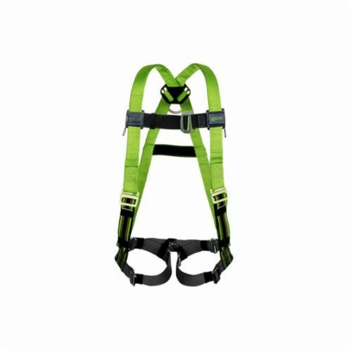 Miller® by Honeywell DuraFlex Python™ P950QC/XXLGN Harness, 2XL, 400 lb Load, Polyester/Urethane Elastomer Strap, Quick-Connect Leg Strap Buckle, Quick-Connect Chest Strap Buckle, Friction Shoulder Strap Buckle, Steel Hardware, Green