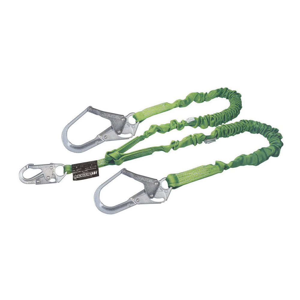Miller® by Honeywell Manyard™ II 231M-Z7/6FTGN Stretchable Shock Absorbing Lanyard, 310 lb Load Capacity, 6 ft L, Polyester Webbing Line, 2 Legs, Rebar Hook Anchorage Connection, Snap Hook Harness Connection Hook