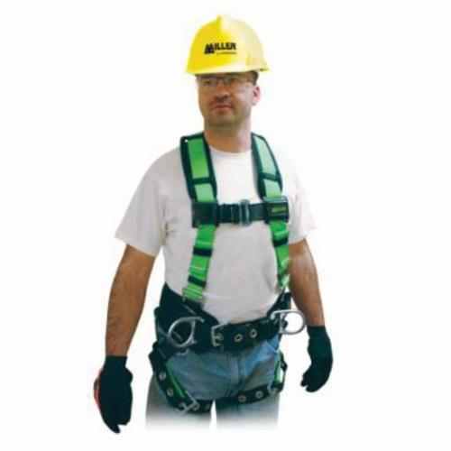 Miller® by Honeywell 650CN-BP/XXLGN Contractor Harness, 2XL, 400 lb Load, Polyester Strap, Tongue Leg Strap Buckle, Mating Chest Strap Buckle, Friction Shoulder Strap Buckle, Steel Hardware, Green