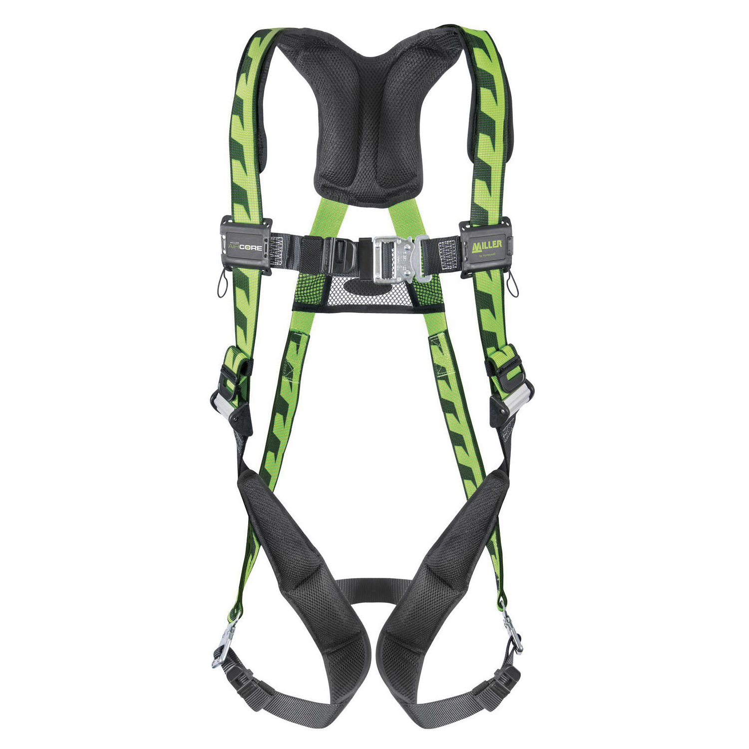 Miller® by Honeywell AirCore™ AC-QC/UGN Harness, Universal, 400 lb Load, Polyester Strap, Quick-Connect Leg Strap Buckle, Quick-Connect Chest Strap Buckle, Carbon Steel Hardware, Green