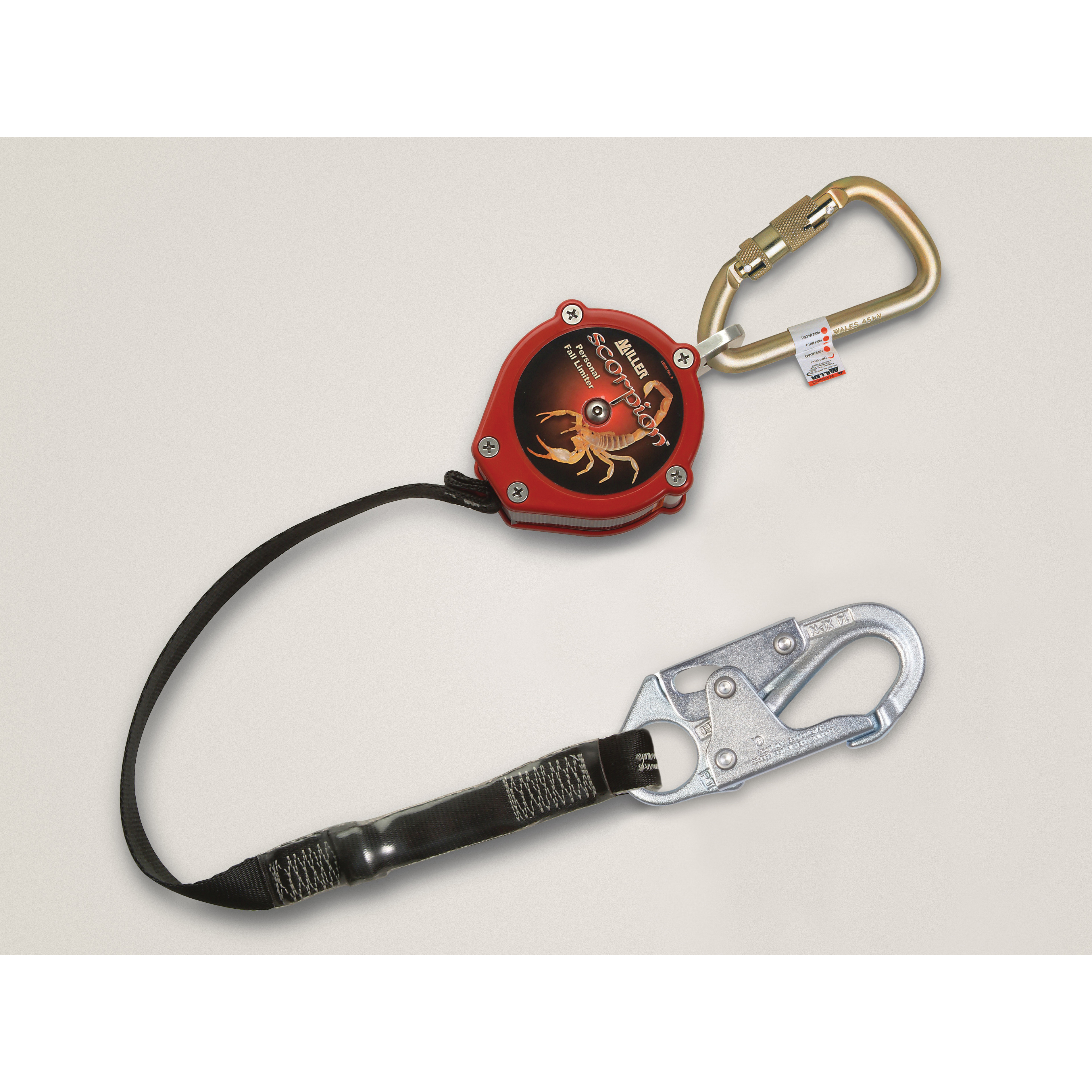Miller® by Honeywell PFL-2-Z7/9FT Scorpion™ Self-Retracting Personal Fall Limiter With Twist-Lock Carabiner and Locking Snap Hook, 310 lb Load Capacity, 9 ft L, Specifications Met: ANSI Z359
