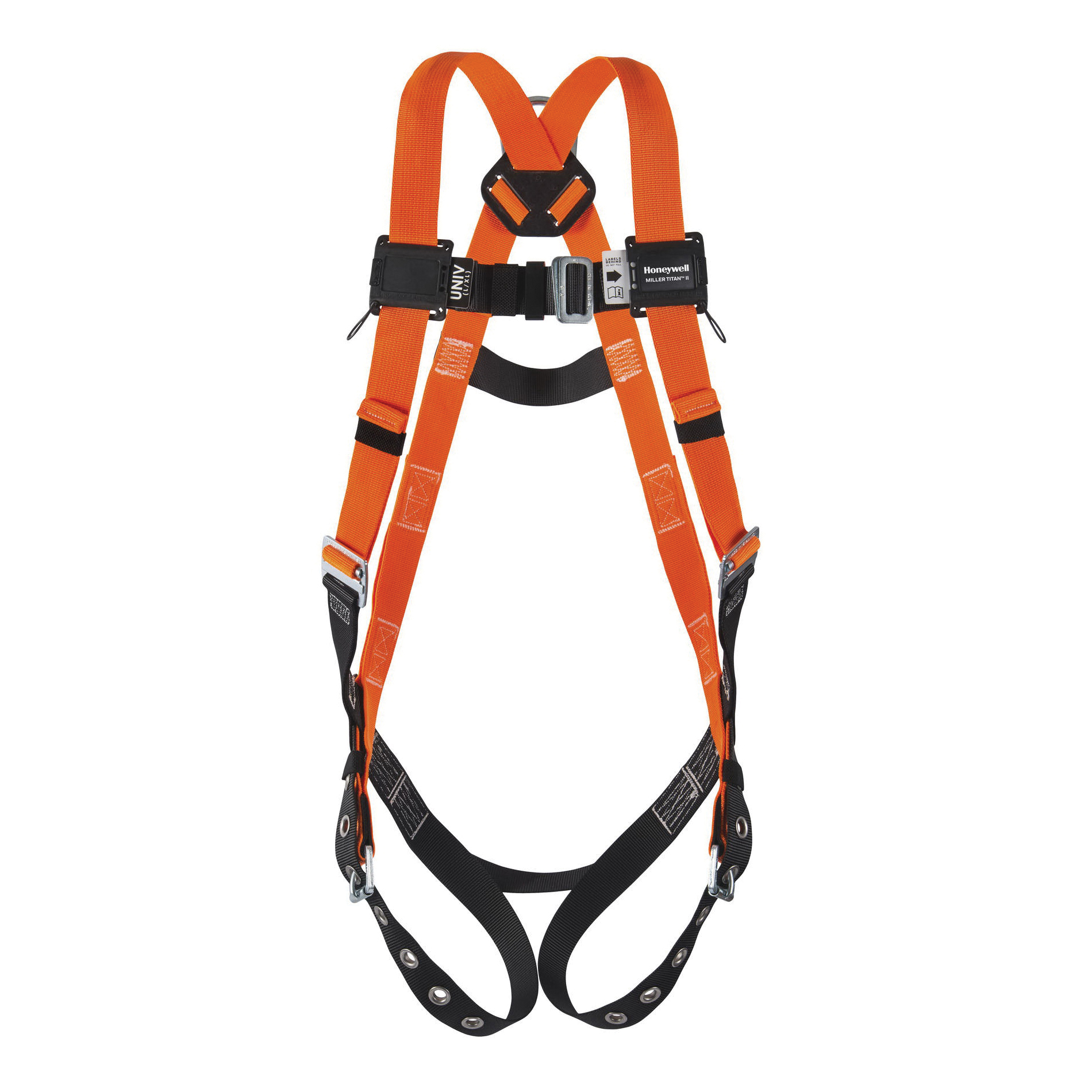Miller® by Honeywell TiTAN™ T4500/UAK Non-Stretchable Harness, Universal, 400 lb Load, Polyester Strap, Tongue Leg Strap Buckle, Mating Chest Strap Buckle, Mating Shoulder Strap Buckle, Steel Hardware, Black/Orange