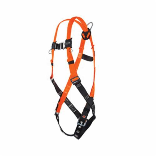 Miller® by Honeywell TiTAN™ II T4500/XXLAK Non-Stretchable Harness, 2XL, 400 lb Load, Polyester Strap, Tongue Leg Strap Buckle, Mating Chest Strap Buckle, Friction Shoulder Strap Buckle, Steel Hardware, Hi-Viz Orange