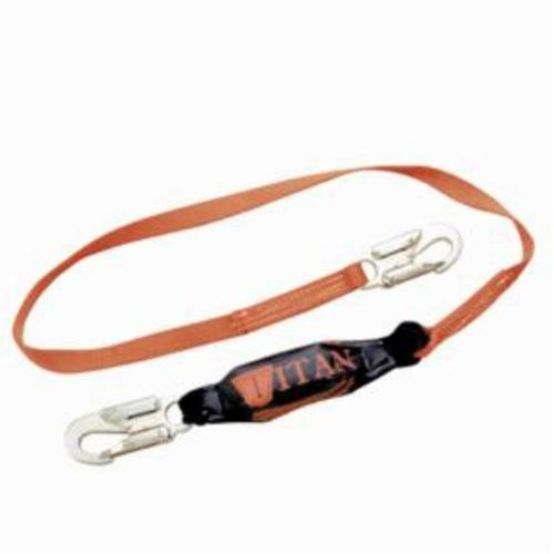Miller® by Honeywell Titan™ II T6111-Z7/6FTAF Shock Absorbing Lanyard, 310 lb Load Capacity, 6 ft L, Polyester Webbing Line, 1 Legs, Snap Hook Anchorage Connection, Rebar Hook Harness Connection Hook