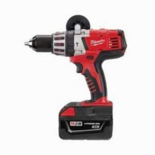 Milwaukee® 0726-22 M28™ Cordless Hammer Drill Kit, 1/2 in Metal Single Sleeve Ratcheting Lock Chuck, 28 VDC, 0 to 450 rpm, 0 to 1800 rpm No-Load, M28™ REDLITHIUM™ Lithium-Ion Battery