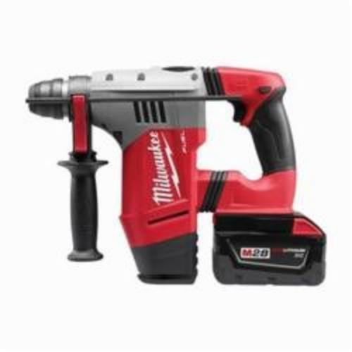 Milwaukee® 0757-22 M28 FUEL™ Cordless Rotary Hammer Drill Kit, 1-1/8 in Keyless/SDS Plus Chuck, 28 VDC, 1350 rpm No-Load, Lithium-Ion Battery