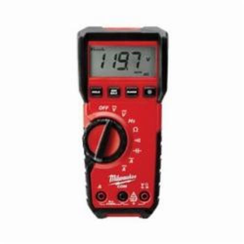 Milwaukee® 2216-20 Heavy Duty Digital Multimeter, 6 mV to 600 VAC/600 mV to 600 VDC, 10 A, 40 MOhm, Black On White LCD Display
