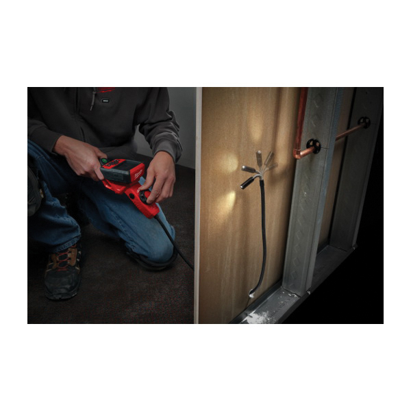 Milwaukee® M12™ 2317-21 M-Spector Flex™ Cordless Inspection Camera Cable With PIVOTVIEW™ Kit, 12.5 mm Dia x 3 ft L Probe, Adjustable LED Lamp Display, Black/Red
