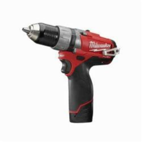 Milwaukee® 2404-22 M12™ FUEL™ Cordless Hammer Drill/Driver Kit, 1/2 in Metal Single Sleeve Ratcheting Lock Chuck, 12 VDC, 450/1700 rpm No-Load