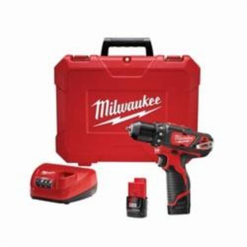Milwaukee® 2407-22 M12™ Compact Lightweight Cordless Drill/Driver Kit, 3/8 in Chuck, 12 VDC, 0 to 400/0 to 1500 rpm No-Load, 7-3/8 in OAL, Lithium-Ion Battery