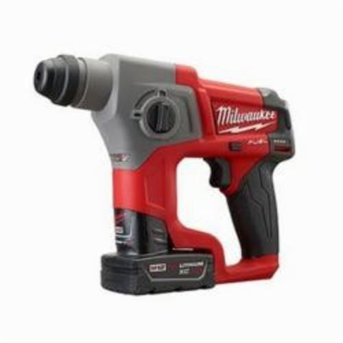 Milwaukee® 2416-22XC M12™ FUEL™ Cordless Rotary Hammer Kit, 5/8 in Keyless/SDS Plus® Chuck, 12 VDC, 900 rpm No-Load, Lithium-Ion Battery