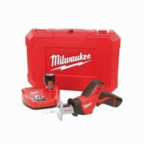 Milwaukee® HACKZALL™ 2420-22 M12™ Fixed Shoe Cordless Reciprocating Saw Kit, 1/2 in L Stroke, 0 to 3000 spm, Straight Cutting, 12 VDC, 11 in OAL