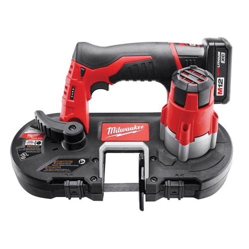 Milwaukee® 2429-21XC M12™ Sub Compact Cordless Band Saw Kit, 1-5/8 in Cutting, 27 in L x 0.5 in W x 0.02 in THK Blade, 12 VDC, 3 Ah REDLITHIUM™ XC™ Lithium-Ion Battery