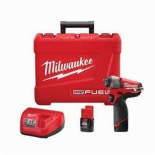 Milwaukee® 2452-22 M12 FUEL™ Cordless Impact Wrench Kit, 1/4 in Straight Drive, 0 to 3000/0 to 4000 bpm, 500 in-lb, 12 VDC, 5-3/4 in OAL