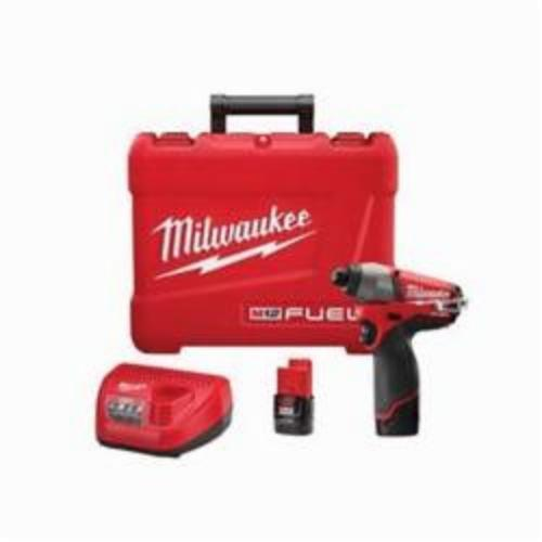 Milwaukee® 2453-22 M12™ FUEL™ High Performance Cordless Impact Driver Kit, 1/4 in Hex Drive, 0 to 3550 bpm, 1200 in-lb Torque, 12 VAC, 6 in OAL