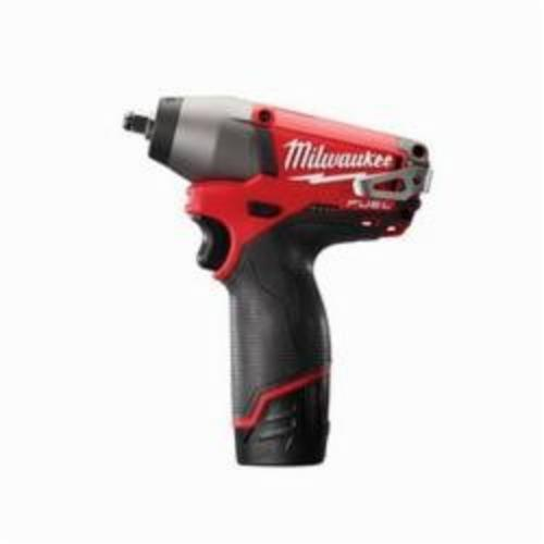 Milwaukee® 2454-22 M12 FUEL™ Cordless Impact Wrench Kit, 3/8 in Straight Drive, 0 to 2650/0 to 3500 bpm, 117 ft-lb, 12 VDC, 6-1/2 in OAL