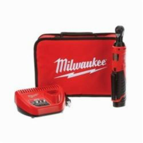 Milwaukee® 2456-21 M12™ Double Insulated Cordless Ratchet Kit, 1/4 in Drive, 30 ft-lb, 250 rpm, 12 VDC, Lithium-Ion Battery, 10-3/4 in OAL