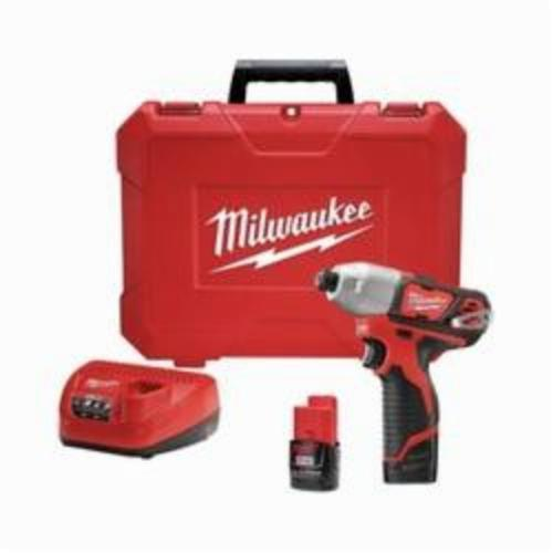 Milwaukee® 2462-22 M12™ Compact Lightweight Cordless Impact Driver Kit, 1/4 in Hex Drive, 0 to 3300 ipm, 1000 in-lb, 12 VAC, 6-3/8 in OAL