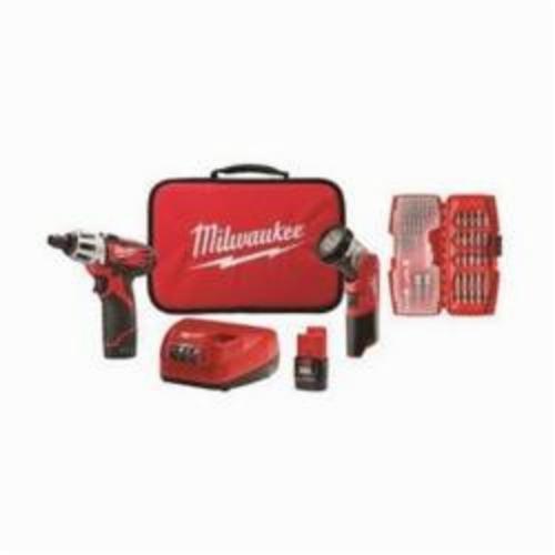 Milwaukee® 2482-22 M12™ 2-Tool Cordless Combination Kit, 12 VDC, 1.5 Ah Lithium-Ion