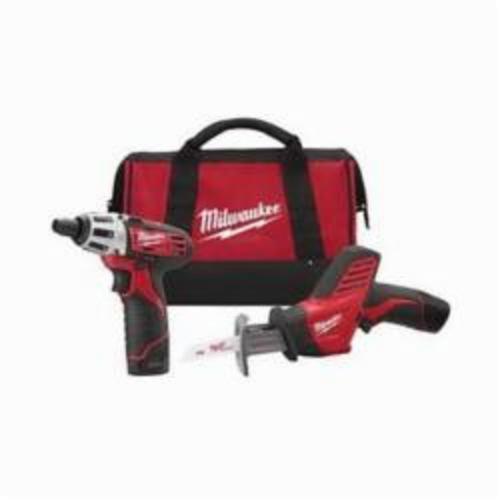 Milwaukee® 2490-22 M12™ Cordless Combination Kit, Tools: Reciprocating Saw, Screwdriver, 12 VDC, 1.5 Ah Lithium-Ion