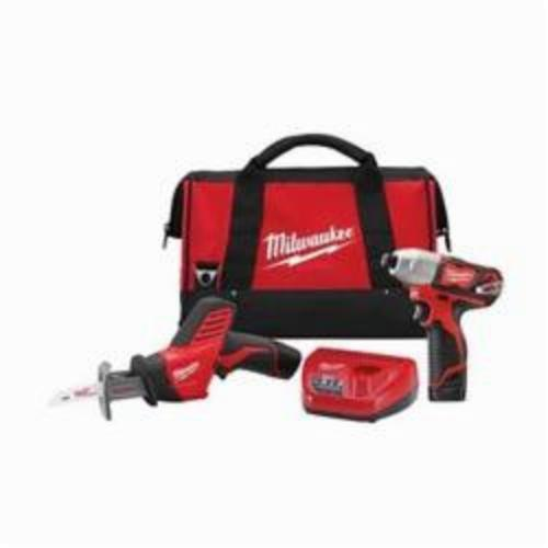 Milwaukee® 2491-22 M12™ Cordless Combination Kit, Tools: Impact Driver, Reciprocating Saw, 12 VDC, 1.5 Ah Lithium-Ion Battery, 1/4 in Hex Shank, 850 in-lb Impact Driver, 5.2 in L x 19.2 in W x 10.83 in H