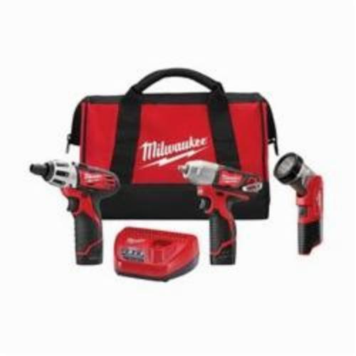 Milwaukee® 2491-23 M12™ Cordless Combination Kit, Tools: Impact Wrench, Screwdriver, Worklight, 12 VDC, 1.5 Ah Lithium-Ion, Keyless Chuck, Variable Speed