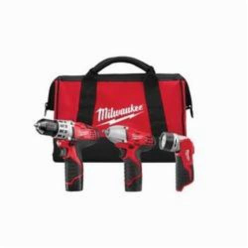 Milwaukee® 2493-23 M12™ 3-Tool Cordless Combination Kit, Tools: Drill Driver, Impact Wrench, 12 VDC, 1.5 Ah Lithium-Ion, Keyless Blade