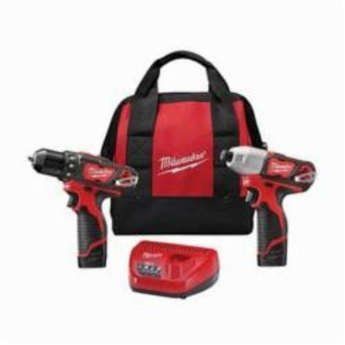 Milwaukee® M12™ 2494-22 2-Tool Cordless Combination Kit, Tools: Drill, Impact Driver, 12 VDC, 1.5 Ah Lithium-Ion Battery, Keyed Blade