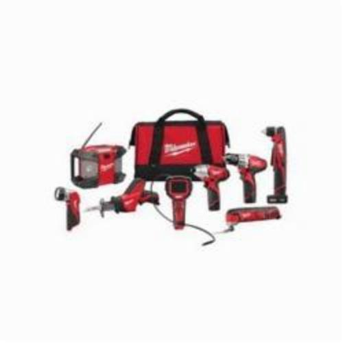 Milwaukee® 2495-28 M12™ 8-Tool Cordless Combination Kit, Tools: Drill, Impact Driver, Oscillating Tool, Reciprocating Saw, Right Angle Drill, 12 VDC, 1.5 Ah Lithium-Ion, Keyless Blade