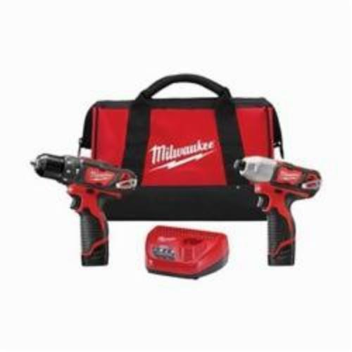 Milwaukee® 2497-22 M12™ 2-Tool Cordless Combination Kit, Tools: Hammer Drill, Impact Driver, 12 VDC, 1.5 Ah Lithium-Ion, Keyed Blade