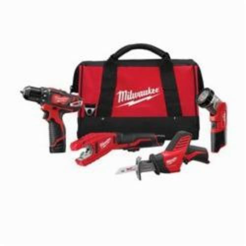 Milwaukee® 2499-24 M12™ 4-Tool Cordless Combination Kit, Tools: Drill, Reciprocating Saw, Tubing Cutter, 12 VDC, 1.5 Ah Lithium-Ion, Keyless Blade
