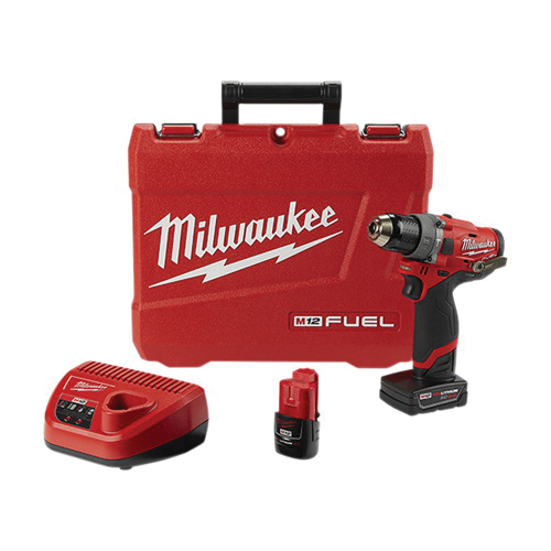 Milwaukee® 2504-22 M12 FUEL™ Cordless Hammer Drill Kit, 1/2 in Keyless Chuck, 350 in-lb Torque, 12 VAC, Lithium-Ion Battery