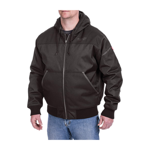 Milwaukee® 252B-2X Hooded Jacket, Black, 900D GridIron™ Ripstop Polyester/Quilted Taffeta, 46 to 48 in Chest, Resists: Wind, Water and Weather
